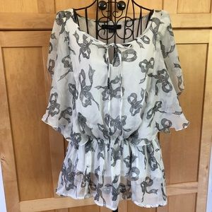 Forever 21 sheer blouse with built in cami Size L